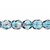 Fire polished 6mm Crystal/Aqua/Amethyst Two-tone